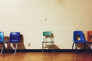 Photo Cred: I_Like_Boring_Things  School chair by itself.